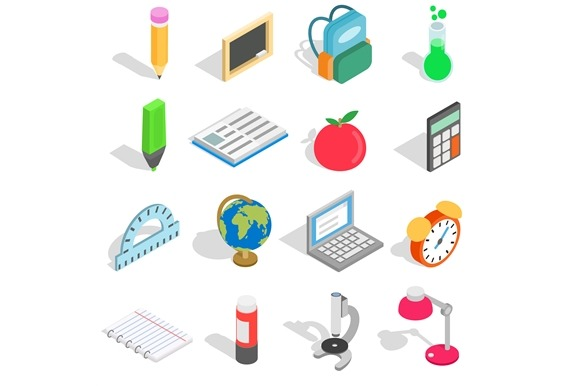 School Icons Set Isometric 3D Style