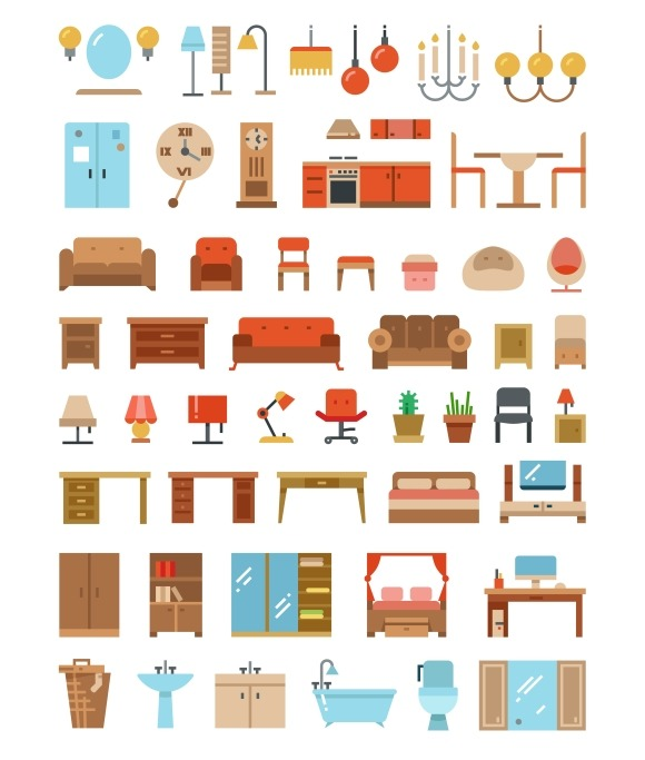 Home Office Furniture Flat Icons