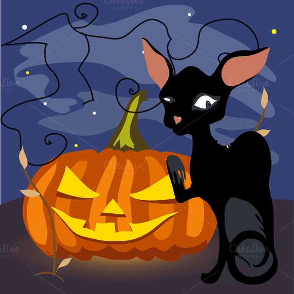 Halloween Black Cat With Pumpkin