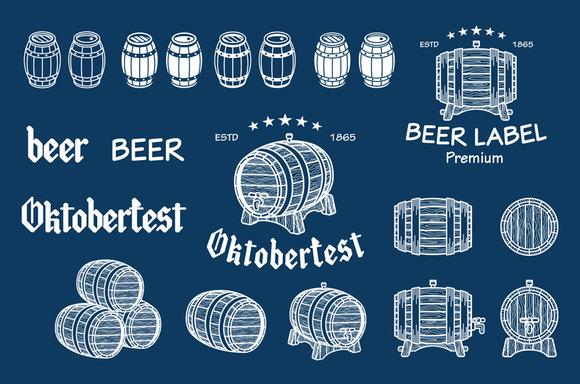 Vector Beer Barrel Drawn Vector
