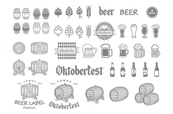 Emblems Labels Beer Design Elements