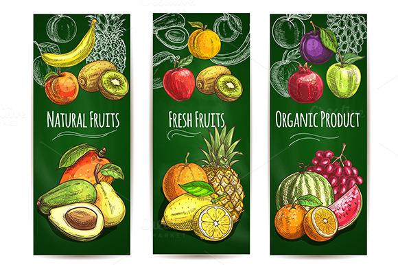 Fresh Fruits Banners Set