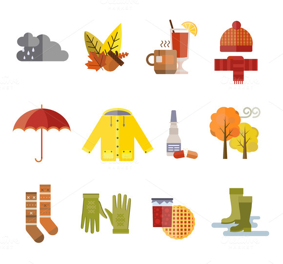 Autumn Clothes Items Vector