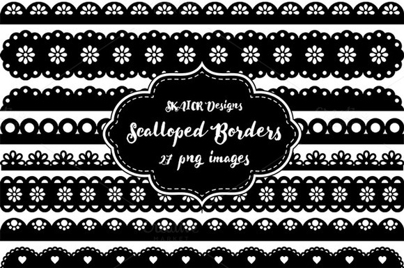 Black Scalloped Punch Border Clipart
