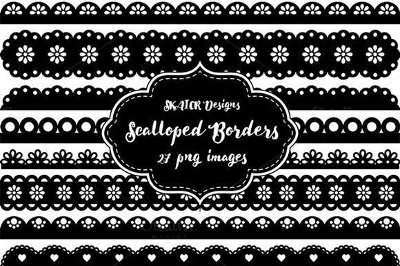 Black Scalloped Punch Border Clipart