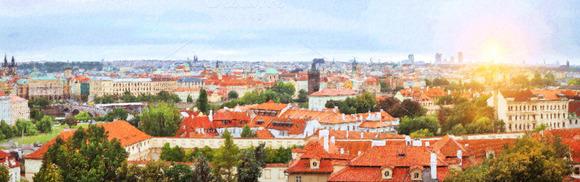 Prague Czech Republic Old Town Over Vltava River