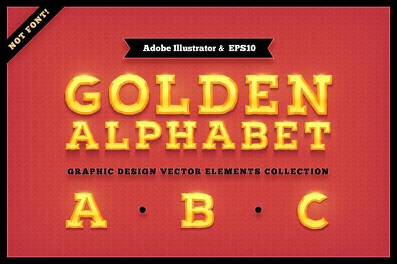 Golden Alphabet Characters