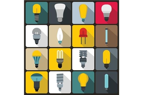 Light Bulb Icons Set Flat Style
