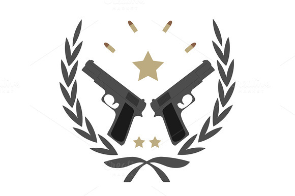 2 Pistols Bullets And Stars Vector