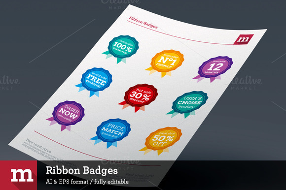 9 Ribbon Badges For ECommerce