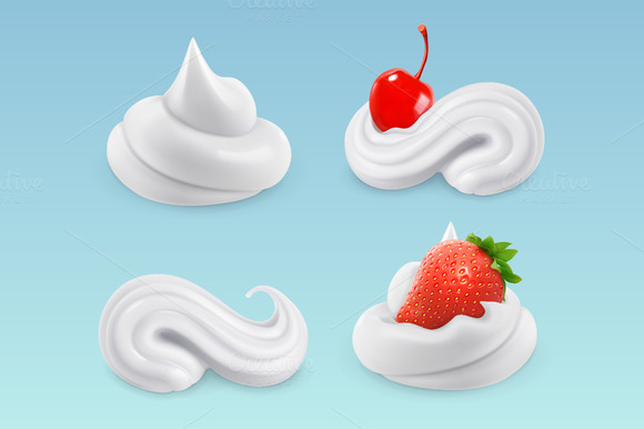 Whipped Cream Vector Set
