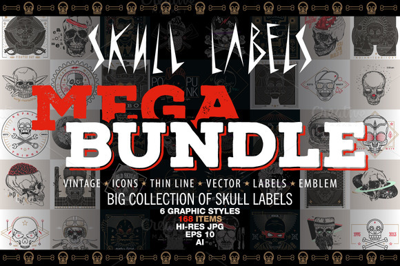 Skull Labels MEGA BUNDLE 90% OFF