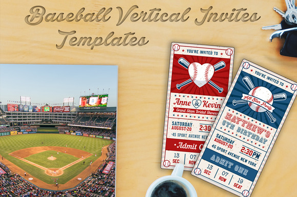 Baseball Ticket Party Invites 3