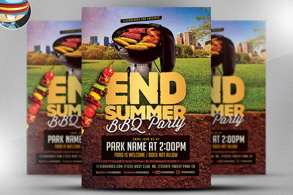 End Summer BBQ Party Flyer Template