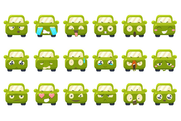 Cute Cars With Emoticons