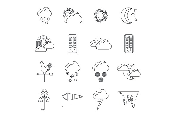 Weather Icons Set Outline Style