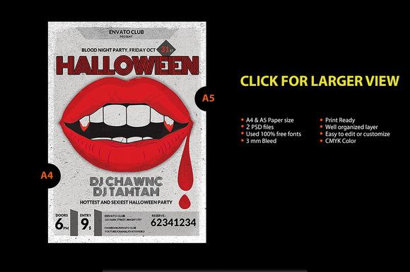 Vintage Halloween Bloody Lips Flyer