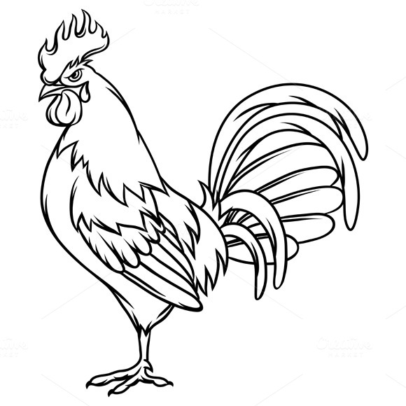 Line Drawing Rooster : Gallic rooster cartoon designtube creative design content