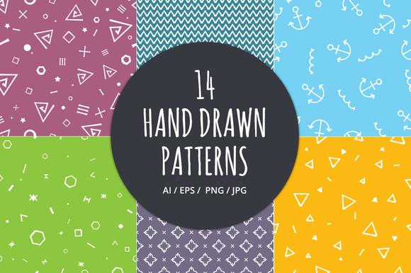 14 Hand Drawn Seamless Patterns