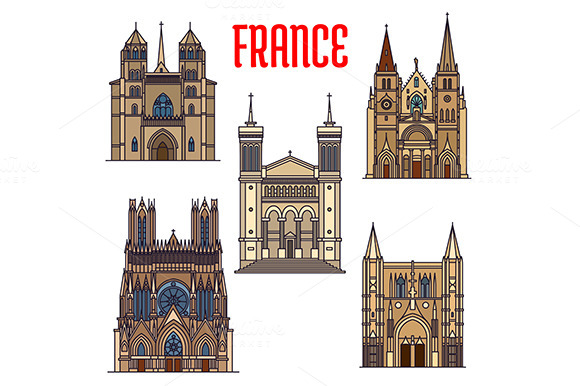 France Landmarks Icons