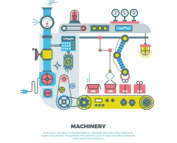 Machinery Parts Flat Vector