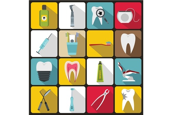 Dental Care Icons Set Flat Style