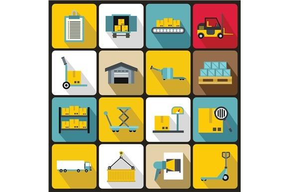 Logistic Icons Set Flat Style