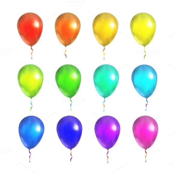 Set Of 12 Bright Colorful Balloons