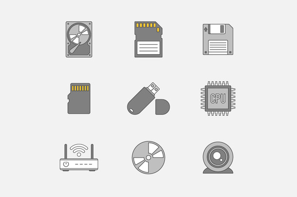 Data Storage Flat Line Icons