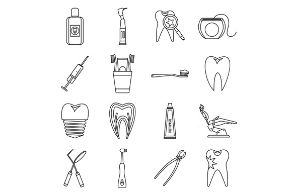 Dental Care Icons Set Outline Style