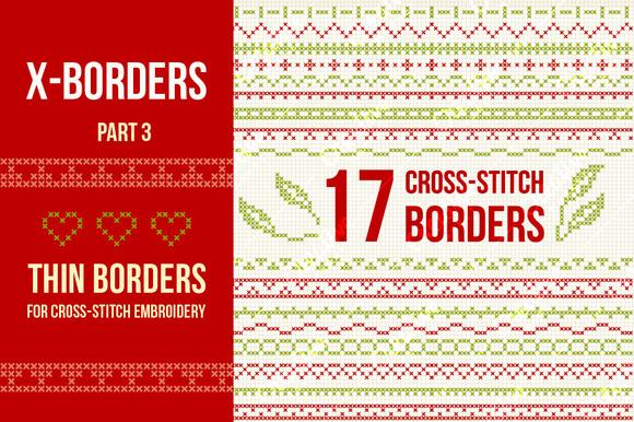 Cross-stitch Borders Set 3 THIN