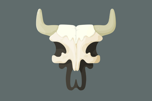 Vector Illustration Of Bull Skull