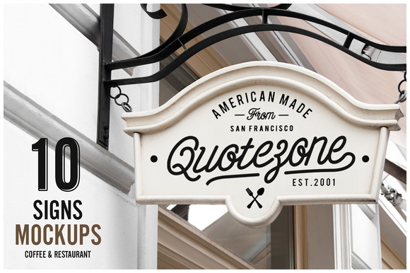 10 Signs Mockup Restaurant Coffee