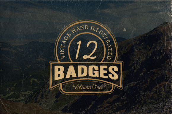 12 Hand Drawn Vintage Badges V.1