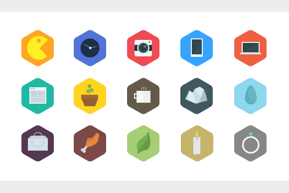 15 Flat Hexagon Icons
