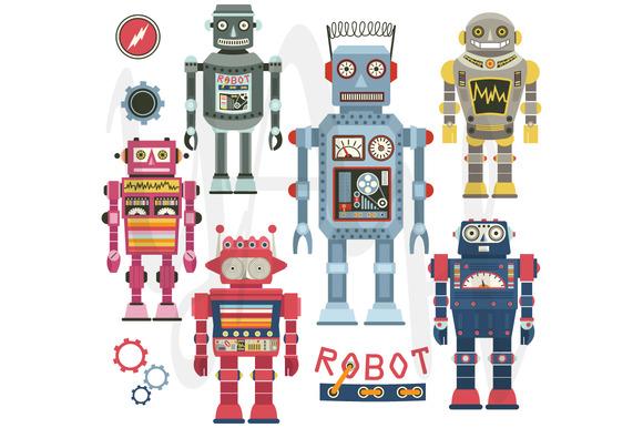 Retro Robots Clip Art
