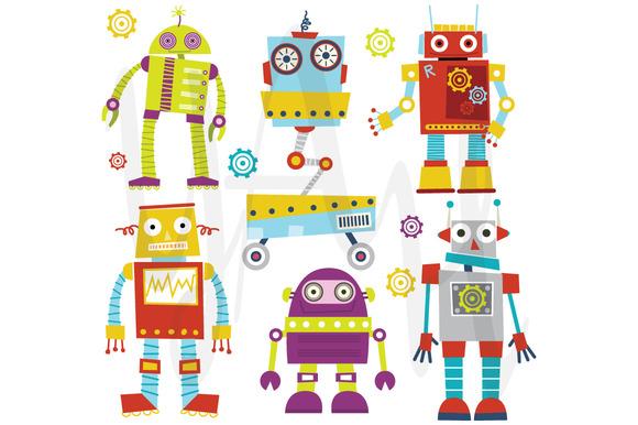 Cute Robots Clip Art