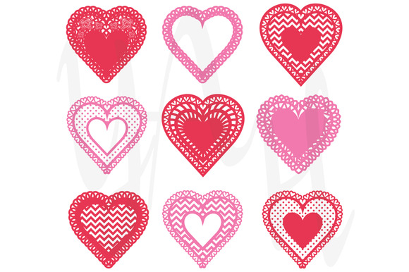 Heart Shaped Doilies Clip Art