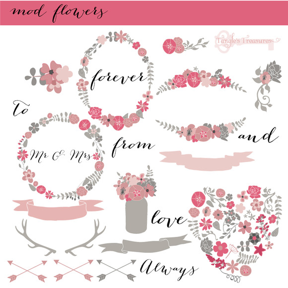 Mod Florals In Pink And Grey