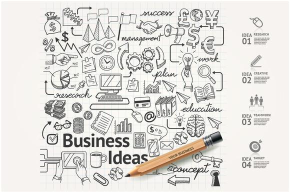Business Idea Doodles Icons Set