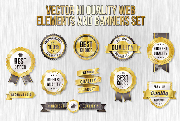 Golden Vector Web Elements Set 2