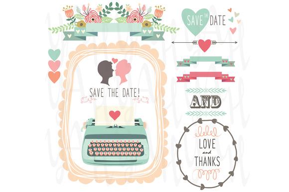 Wedding Vintage Typewriter Clipart