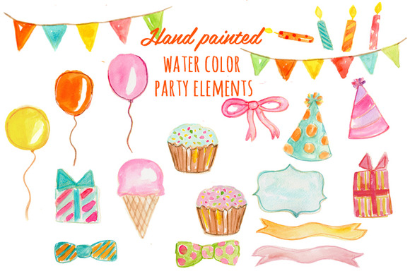 Watercolor Party Elements Hand Paint