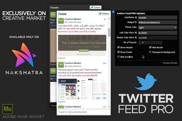 Twitter Feed PRO Adobe Muse Widget