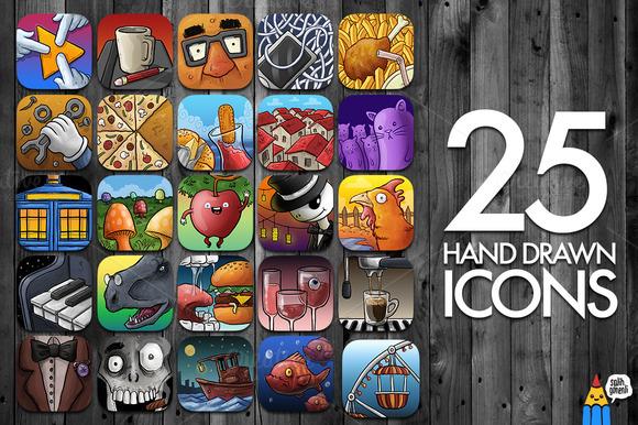 25 Hand Drawn Icons
