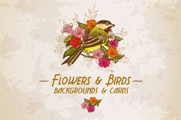 Flowers Birds Backgrounds Cards