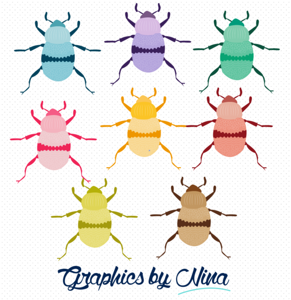 Colorful Beetles Clipart