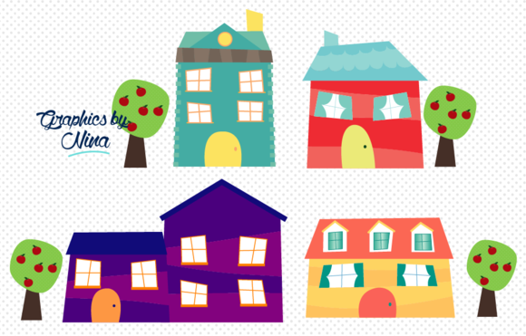 Cute Little Houses Clipart