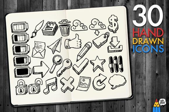 30 Hand Drawn Icons