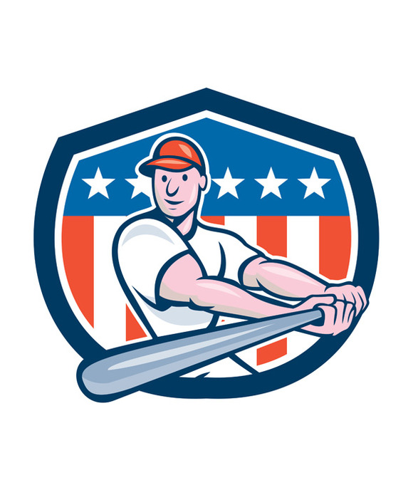 American Baseball Player Batting